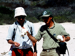 ガラパゴス諸島にて行なわれたフィールドワーク。ダーウィン研究所で専門的なトレーニングを受けたナチュラリストガイド(右)と、その通訳をする高橋氏(左)。近年では野生化したヤギによる食害などが問題視されている地域でもある