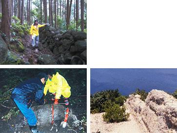 (写真上)和歌山県に現存する、石積みのシシ垣