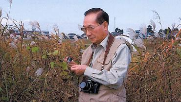 多摩川の河川敷で北アメリカ原産のアレチウリを観察する淺井氏。植物の写真はすべて自身で撮影するという(写真提供:淺井康宏氏)