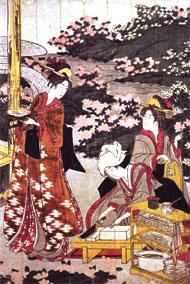 歌川豊国作「豆腐田楽を作る美人」享和頃(1801−1803)<写真提供:(財)味の素 食の文化センター>