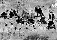 『絹本著色聖徳太子絵伝』(長野県飯田市美術博物館所蔵、鎌倉末−南北朝)の一部。用明天皇の葬送場面。黒や白の葬列装束が描かれている(赤外線照射撮影による)
