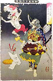 「為朝の武威痘鬼神を退く図」(1800年代芳年画)。鎮西八郎為朝が痘瘡鬼神を退治している絵。昔は、英雄の武威を借りて痘瘡(天然痘)を軽くするというまじないがあった。『錦絵 医学民俗志』より