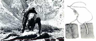 (写真左)鳥葬の様子。遺体は鳥の食べやすいように解体される。一夜明けると背骨と腰骨とお守りのみ残る<写真提供:飯島茂氏><br>(写真右)鳥葬の現場にあったお守り。西北ネパール学術探検隊がアチックミュージアムに寄贈、現在国立民族博物館に移管・所蔵されている<写真提供:高山龍三氏(元西北ネパール学術探検隊)>