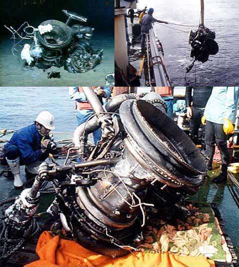 (左上)海底に沈むH-2ロケット8号機のメインエンジンLE−7エンジン