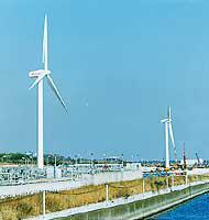 2003年1月に完成した東京・お台場の「東京臨海風力発電所」。風車の愛称は、公募により「東京風ぐるま」に決定した〈写真提供:電源開発(株)〉