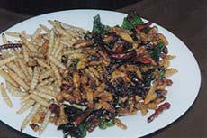 牛肉のステーキよりも高価だという螟虫(左)とスズメバチ類(右)の唐揚げの盛り合せ(写真提供:三橋淳氏)