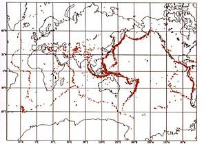 世界の震源分布図<br>1990&minus;1994年の間に起きたマグニチュード5以上、地下100メートル内の浅い地震の震源を示している。(写真提供:気象庁)