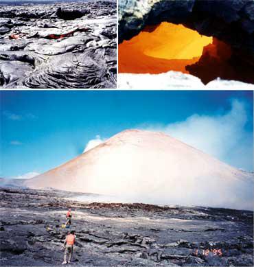 ホットスポット火山の代表格・ハワイのキラウエア火山。流れ出す溶岩を間近に見ることができる(写真提供:井田喜明氏)