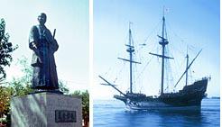 (左)コリア・デル・リオにたたずむ支倉常長の銅像(右)「慶長遣欧使節団」を乗せて日本を発ったサン・ファン・バウティスタ号(復元)
