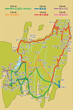 芭蕉が足跡を残した旅の行程図。「奥の細道」は元禄2年3月から9月の半年間、深川から大垣までの旅だった。芭蕉この時46歳