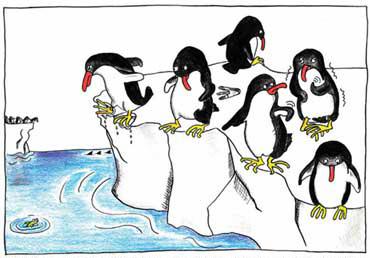 ペンギンたちが、水の中に飛び込もうとして躊躇する微笑ましい様子を動物園でよく見かける。実はこの行動には、生き延びるための知恵がある。ペンギンたちにとって、海に飛び込む行為は、えさを得るメリットと、天敵に食われてしまうリスクの両方を含む。生き物は、不確定な状況で判断して行動するために、リスクやメリットの見込みを考え、仲間の行動を観察するなど、脳の感情システムが発達してきたと考えられている<イラスト提供:茂木健一郎>