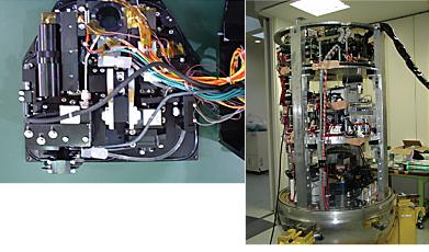 無重力実験の装置(右)と国際宇宙ステーションで
