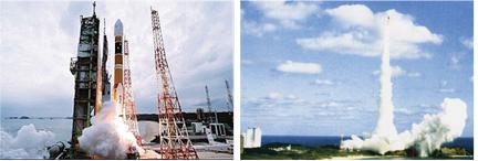 打ち上げられる�H-IIAロケット。宇宙への物資の運搬手段であると同時に、宇宙開発には欠かせないもの。2001年8月初めて試験飛行以来、9号機まで打ち上げられている。<出典:JAXA>