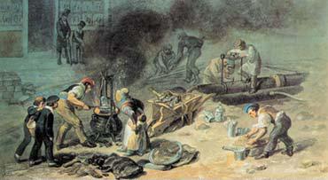『水道本管工事 トトナム・コート道路で』(ジョージ・シャーフ画、1834年)。水道の普及も「道徳の向上」として考えられた(「LONDON-WORLD CITY 1800−1840」より)