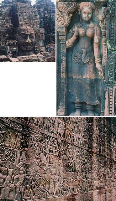 「アンコール・トム」都城の中心寺院「バイヨン」の四面尊顔塔の観世音菩薩像<写真提供:石澤良昭氏><br>「アンコール美術の宝石箱」といわれる「バンテアイ・スレイ」にある女神「東洋のモナリザ」(石澤氏命名)<写真提供:石澤良昭氏><br>「アンコールワット第一回廊」の壁面レリーフ。物語が絵巻物のように展開されている<写真提供:石澤良昭氏>