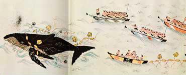 江戸時代に行なわれた網捕り式捕鯨の様子。太地浦捕鯨絵巻(壱ノ巻・弐ノ巻)より<資料提供:高橋順一氏>