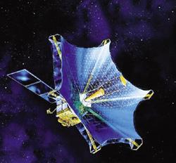 電波天文衛星「はるか」の大型アンテナ。6本の傘のような枠をつくり、その内側にモリブデンの布をケーブルで組んだトラスで吊ることで、パラボラ状にしている〈写真提供:宇宙航空研究開発機構(JAXA)〉