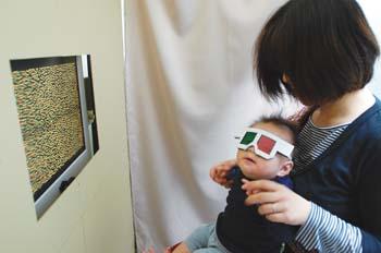 立体的にものを見る能力の実験。左右の目から入ってくる映像のズレから立体を感じることができるのか調べるため、3Dシアターなどで利用されるものと似たようなメガネを赤ちゃんにかけている
