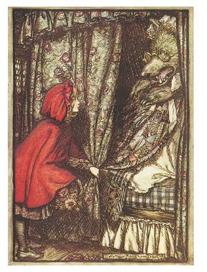 「赤ずきん」赤ずきんをかぶった女の子が、おばあさんになりすました狼に話し掛けている<資料提供:森 義信氏>