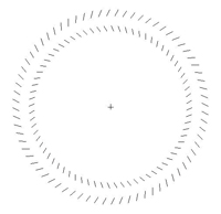 中央の十字を注視しながら絵に近付いたり遠ざかったりすると、同心円状に配列されたエレメントが回転して見える〈画像提供:すべて一川 誠氏〉