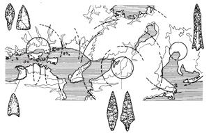 武器の形と分布から、弥生時代の戦乱の単位と範囲を推定する。戦いのあった場所ごとに武器の形が似ているのが特徴(資料提供:松木武彦氏)
