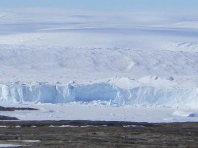 (写真左)南極の様子。長沼氏は夏隊員として南極観測隊に参加し、夏の間だけ姿が見える湖や、雪解け水によってできる沢などで、生物の調査を行った<写真提供:長沼 毅氏> (写真下・左下)南極の周辺にある島「リビングストン島」。南極大陸より温暖な気候で、ペンギンやアザラシなどたくさんの動物が生息している<写真提供:長沼 毅氏>