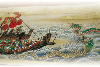 蓬莱物語の奈良絵巻(写真上)。不老不死の薬を求めて、徐福が大海の中にある蓬莱山に赴く途中、龍が現れる場面(写真右)<資料提供:石川透氏>
