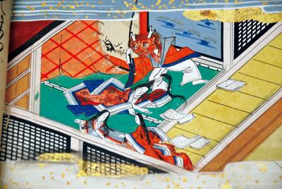 横型タイプの奈良絵本2冊(写真左)。「磯崎」という物語で、本妻が嫉妬し、鬼の面を付けて新妻をおどしている場面(写真上)<資料提供:石川透氏>