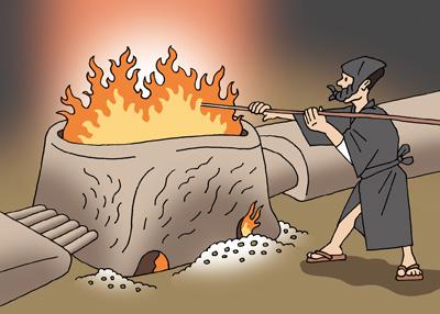 たたら吹きの炉。砂鉄と木炭から玉鋼をつくっていく